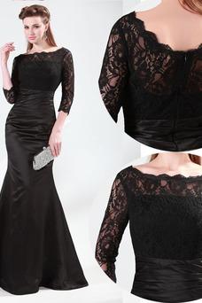 Vestido de madrina Alto cubierto Hasta el suelo Mangas Illusion Sin cintura