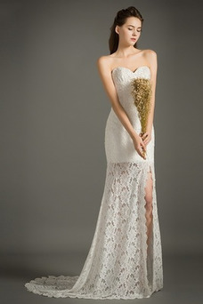 Vestido de novia Playa Delgado Otoño Encaje Sin mangas Natural