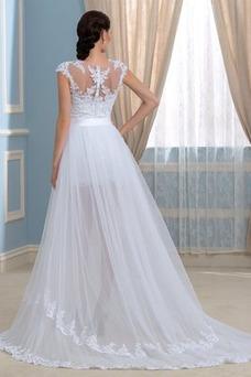 Vestido de novia Capa de encaje Falta Mangas Illusion Frontal Dividida