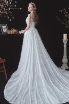 Vestido de novia Romántico tul Natural Cola Barriba Sin mangas Drapeado