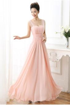 Vestido de dama de honor Drapeado Gasa Tiras anchas largo Cremallera Imperio Cintura