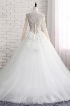 Vestido de novia Cola Corte Manga larga Triángulo Invertido Formal Natural