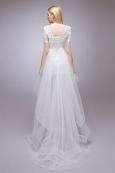 Vestido de novia Escalonado Natural Moderno Asimétrico Dobladillo Espalda Descubierta