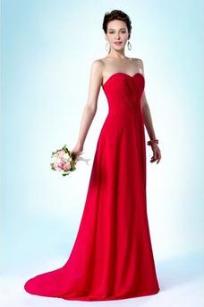 Vestido de dama de honor Plisado Cremallera Corte-A largo Gasa Natural
