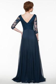 Vestido de madrina Escote en V Romántico Cremallera Natural Encaje Corte-A