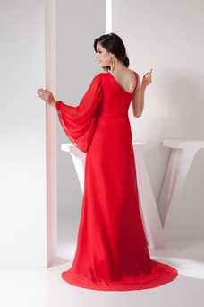 Vestido de noche Natural Hasta el suelo Corte-A Asimétrico Estilo Escote Asimètrico