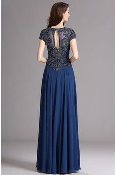 Vestido de noche Gasa Queen Anne Camiseta Natural Corte-A Corpiño Acentuado con Perla