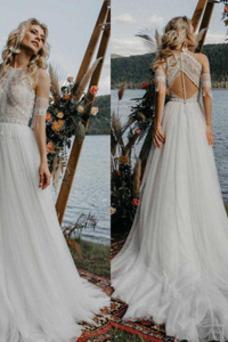 Vestido de novia Elegante Natural primavera Corte-A Encaje Espalda Descubierta