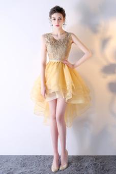 Vestido de fiesta Cordón Asimètrico Asimétrico Dobladillo Glamouroso