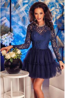 Vestido de cóctel Elegante Corte-A Camiseta Encaje Joya Natural