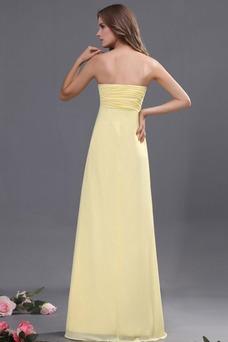 Vestido de noche Gasa Imperio Cintura Imperio Amarillo claro Sin tirantes