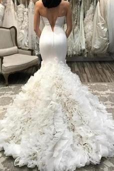 Vestido de novia Corte Sirena primavera Cola Barriba Fuera de casa Sin mangas