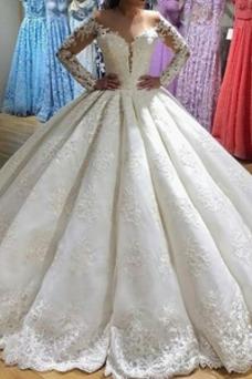 Vestido de novia Encaje Formal Manga larga Capa de encaje Escote en V