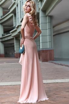 Vestido de noche Natural Bebé rosa Sin mangas Gasa Flores Blusa plisada