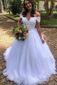 Vestido de novia Cola Barriba Capa Multi Formal Corte-A tul Natural