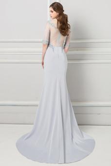 Vestido de noche largo Formal Pura espalda Natural Capa de encaje Apliques