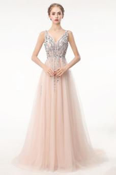 Vestido de fiesta largo Espalda Descubierta Elegante Escote en V Capa Multi