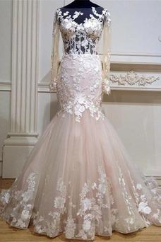 Vestido de novia Corte Sirena Apliques tul Manga larga Moderno Cola Capilla