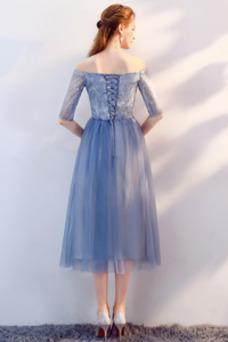 Vestido de dama de honor La mitad de manga Escote con Hombros caídos Cordón