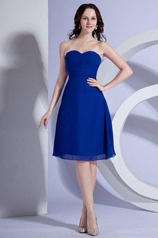Vestido de dama de honor Escote Corazón Cremallera Delgado Verano Gasa Corte-A