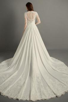 Vestido de novia Natural Escote en V Encaje Capa de encaje Otoño Triángulo Invertido