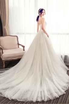 Vestido de novia Elegante Sin mangas Cola Corte Satén Corte-A Apliques