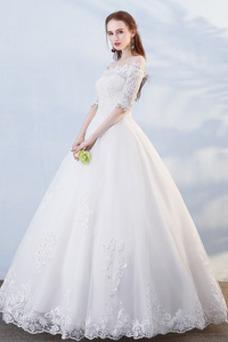 Vestido de novia Hasta el suelo Abalorio Otoño Formal Capa de encaje
