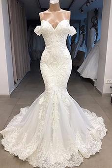 Vestido de novia Satén Capa de encaje Sin mangas Playa Natural Bordado