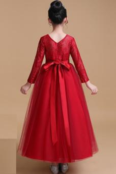 Vestido niña ceremonia Encaje Cremallera Natural Hasta el Tobillo Lazos Elegante