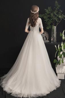 Vestido de novia Corte-A primavera Fuera de casa Abalorio Manga corta