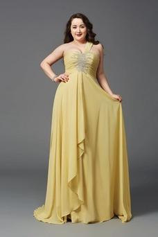 Vestido de noche Blusa plisada Natural Abalorio Elegante Corte-A Hasta el suelo