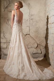 Vestido de novia Natural Cola Capilla Sin mangas Fuera de casa Otoño