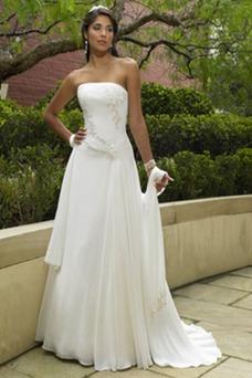 Vestido de novia Sin tirantes Sin mangas Gasa Apliques primavera Natural