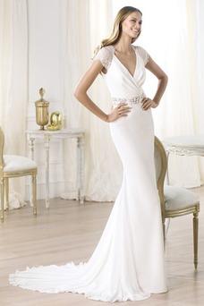 Vestido de novia Manga tapada Natural largo Cremallera Corte Recto Escote en V