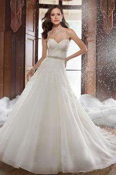 Vestido de novia primavera Sala Espalda Descubierta Cristal Cinturón de cuentas