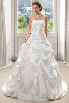 Vestido de novia Sin tirantes Apliques Formal Sin mangas Sala Bola
