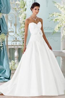 Vestido de novia Corte-A Satén Natural Escote Corazón Sin mangas Formal