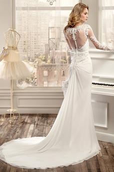 Vestido de novia Playa Otoño Pura espalda Gasa Mangas Illusion Corte Recto
