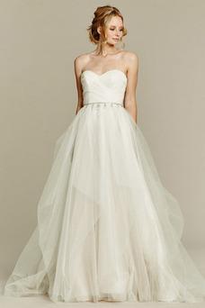 Vestido de novia Natural Sin mangas Plisado Cola Capilla tul Corte-A
