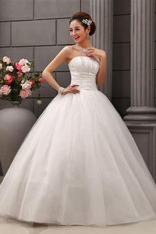 Vestido de novia Sin tirantes Volantes Adorno largo Sin mangas Cordón