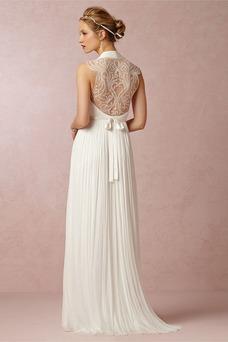 Vestido de novia Fuera de casa Escote en V Corte-A Sin mangas Verano