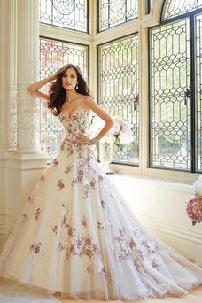 Vestido de novia Espectaculares Cordón Cola Capilla Natural Otoño Bordado