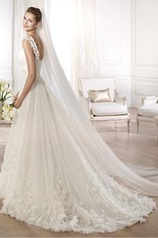 Vestido de novia Clasicos Cola Capilla Con velo tul Flores Escote en V