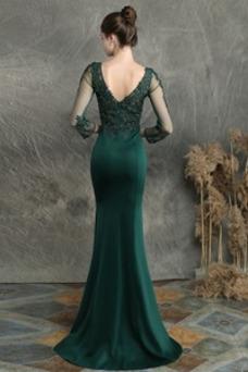 Vestido de noche Abalorio Cremallera Escote en V Otoño Encaje Natural