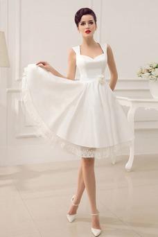 Vestido de novia Sin mangas Satén Hasta la Rodilla Cremallera Natural