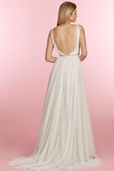 Vestido de novia Cristal Corte-A Fuera de casa Cremallera Natural Verano