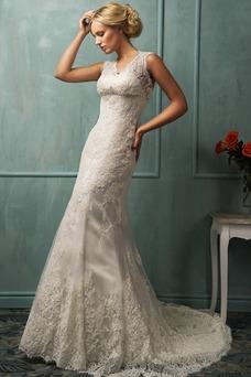 Vestido de novia Escote en V primavera Corte Sirena Encaje Sin mangas