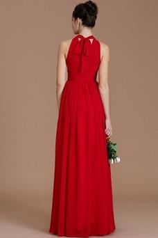 Vestido de dama de honor Sin mangas Gasa Alto cubierto Joya Corte-A Arco Acentuado