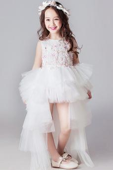 Vestido niña ceremonia Capa Multi Asimétrico Dobladillo Joya tul Falta Corpiño Acentuado con Perla