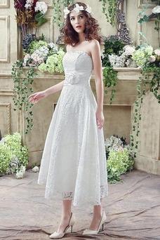 Vestido de novia Encaje Falta Corte-A Flores Natural Hasta la Tibia